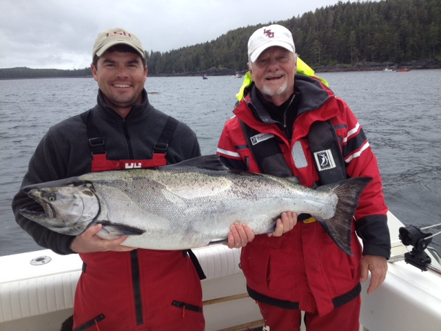 Mike and Todd Stansbury, with a nice 39 lb fish angled at Andrews Point with Steve acting as guide