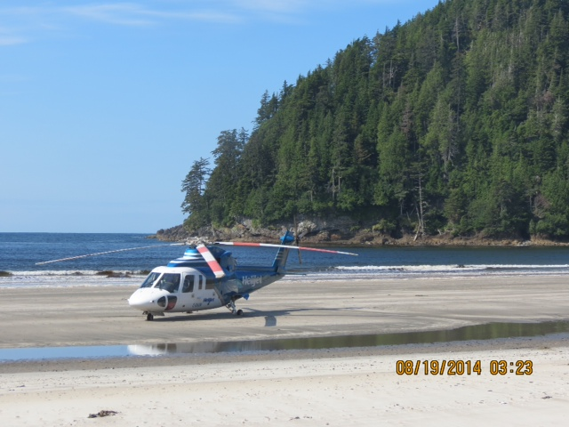 * All alone heli on the beach.