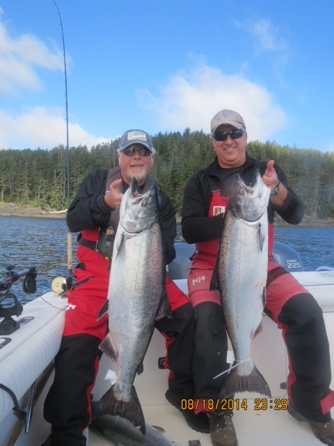 * Don Elkington and Eric Kownacki with a couple nice fish at the fallen tree.