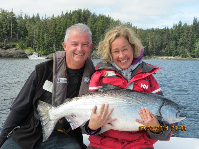* Laurie and John Mullin from the Kal Tire group with a beautiful 36lb tyee.
