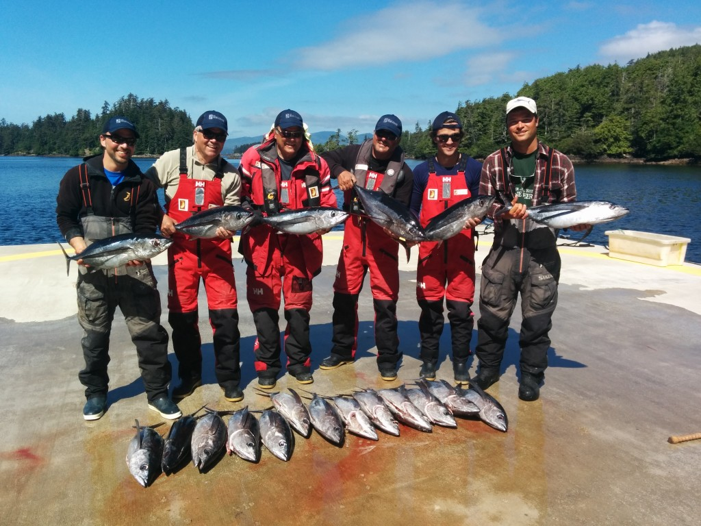 *  Throwback to the 2014 Tuna expedition with Guide Sam Harrison, Bluewater Bernard, Riptide Rob, Deepwater Don, J-Hook Josh and Guide Carl Archibald pose for a group pic at the end of a perfect day in Haida Gwaii.
