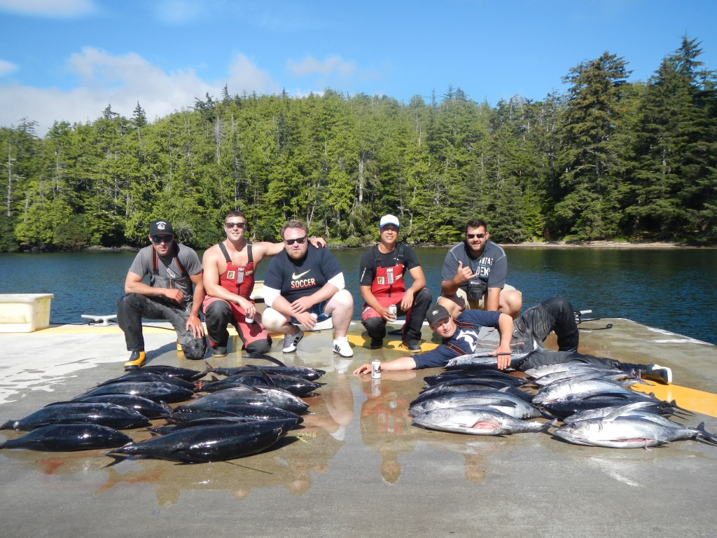 *  Luke, Joey, Jason and Johnny with guides Myles and Dewey, showing off their haul.
