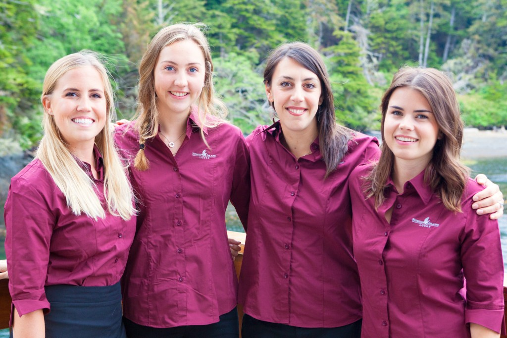 * A few of the North Island Lodge  staff take a few minutes to pose on the back deck.