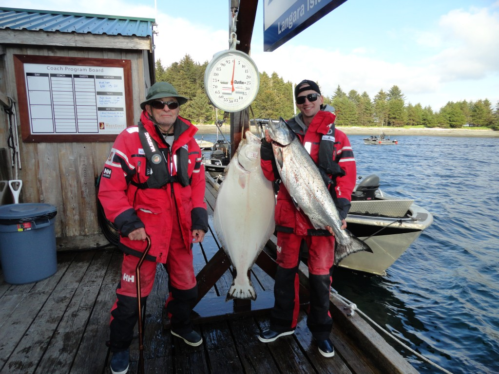 * Rick Mason and his son Taylor on a pre-fathers day trip stand with the prizes of the day: 29lb Chinook and a 62lb Hali.  Great day for the father son team.