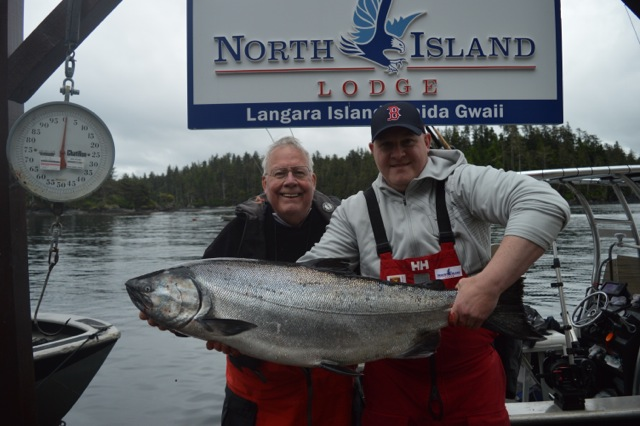 "* Doug and Cam ""former WCFC guide"" Proctor with a 46lb Tyee."