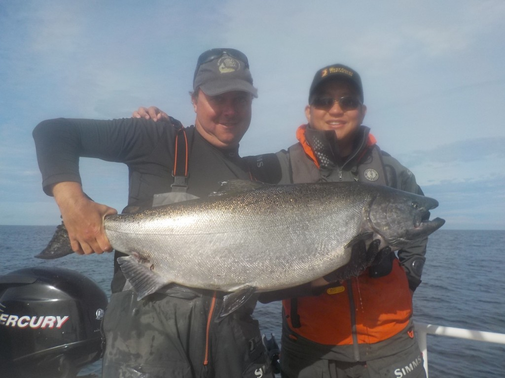 * Justin Foo with guide Mike Ross and a 40lb Tyee.