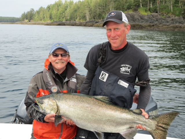 * Rick Pike and Screamer with a 44 lb Tyee caught off the Fallen Tree.