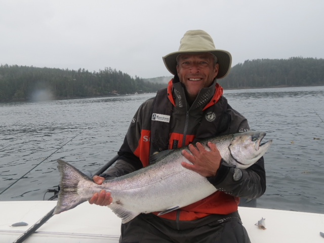* Bill Grey and his Tyee caught with guide Screamer.