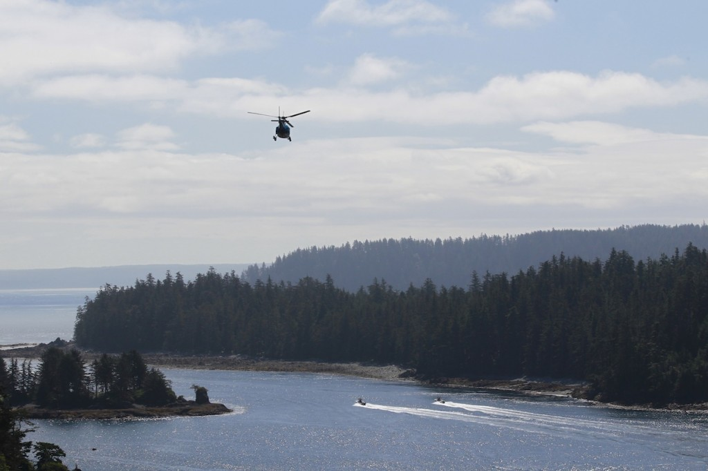 * First few boats run out to the grounds as the choppers return to Masset.
