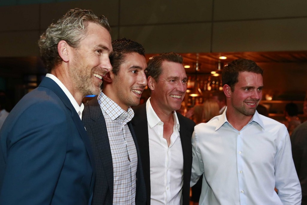 * Trevor Linden, Frankie Corrado, Kirk McLean and Dan Hamhuis enjoying the reception held before FFK.