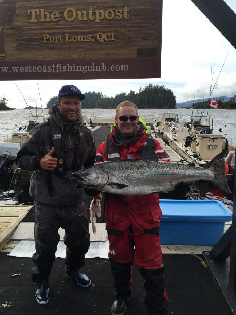 * Stuart Anderson with a 32lb Tyee and guide Carl Archibald.