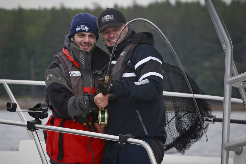 * The father son team of Christian and Paulo Aquilini working together to bring one to the boat.