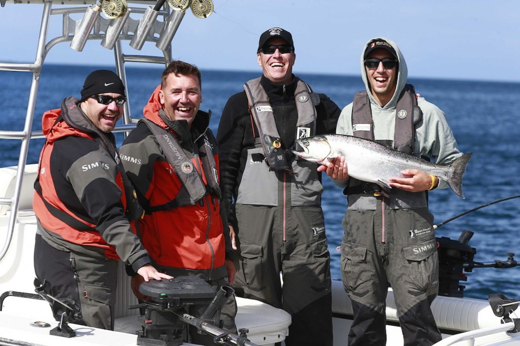 * UNKNOWN, Andrew Purdy, Kirk McLean and Frankie Corrado all smiles as the sun shines down on Frankie's catch.