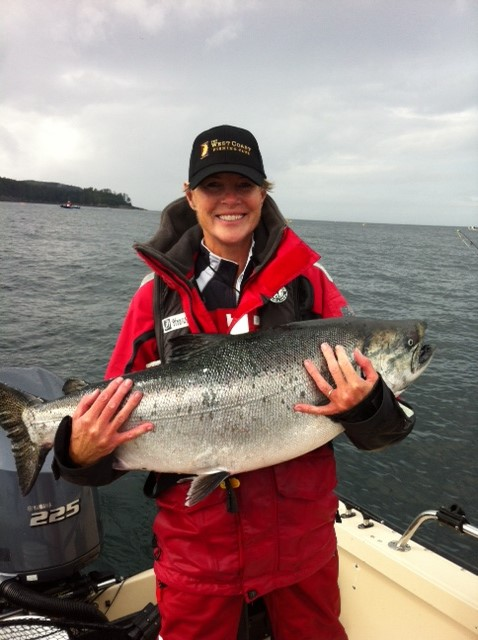 Deepwater's wife and favorite partner with a typical late summer Tyee off McPherson Point.