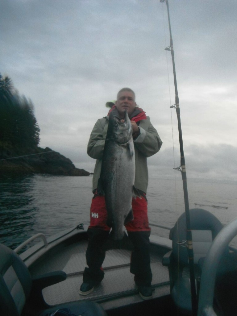 * Darren Porsnuk with his 39lb Tyee with Guide Darcy Porsnuk.