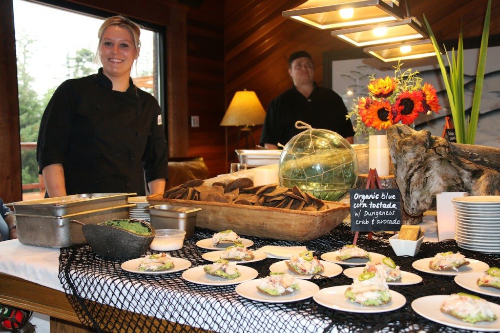 * Stephanie Noal serving up some delicious Dungeness Crab with avocado Tostados.