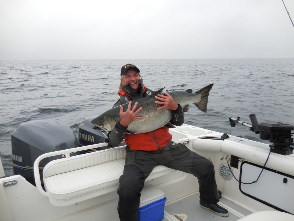 *Douglas Smith with his 61.5 lb Tyee caught with guide Bud Stafford #wishingwewerefishing