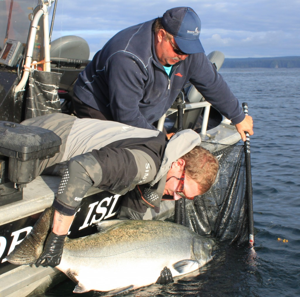 * Dennis Dieni and guide Drew Manson release a 55lb Tyee in June #wishingwewerefishing