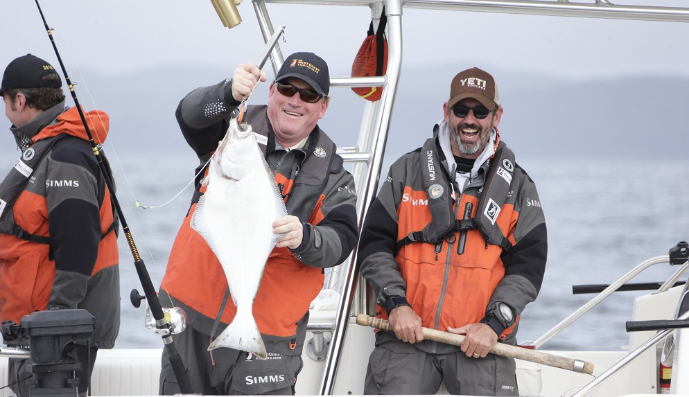 Jeff Hayes and Tuffy Stone Jr. with a chicken Halibut