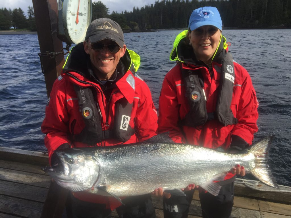* Jim and Nikki Elsberry with their 35lb self-guided Tyee.