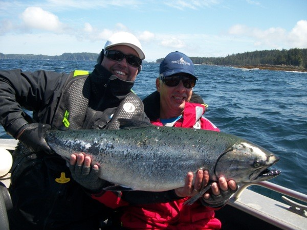 <em>* John Godlasky with guide Jason and a 30.5lb Tyee. </em>