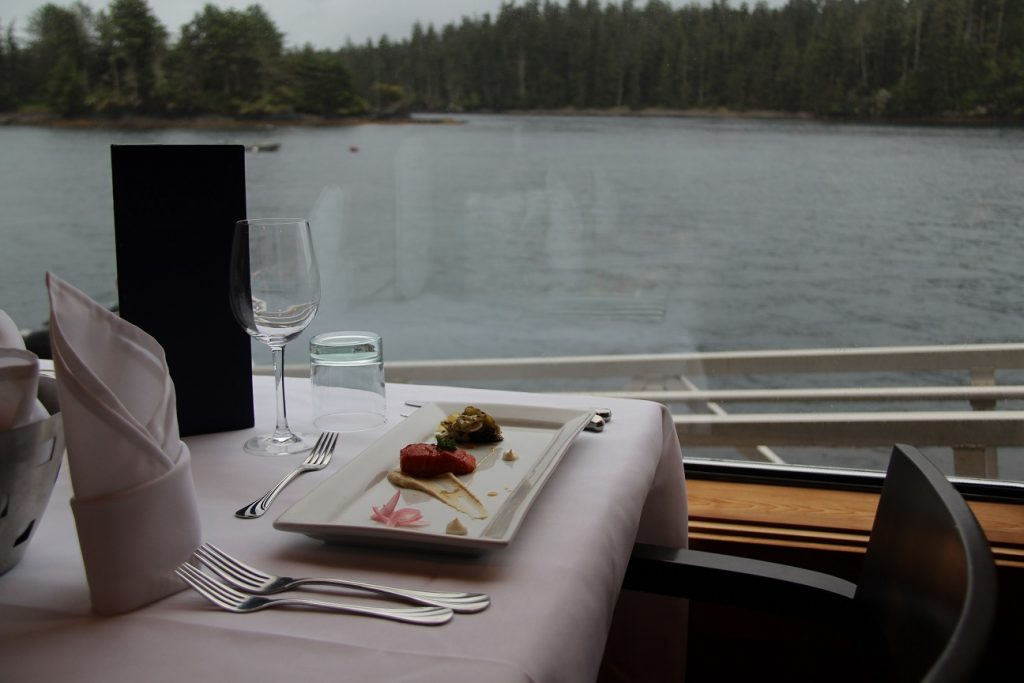 <em>* Appetizer: Smoked candied Salmon served with a view. </em>