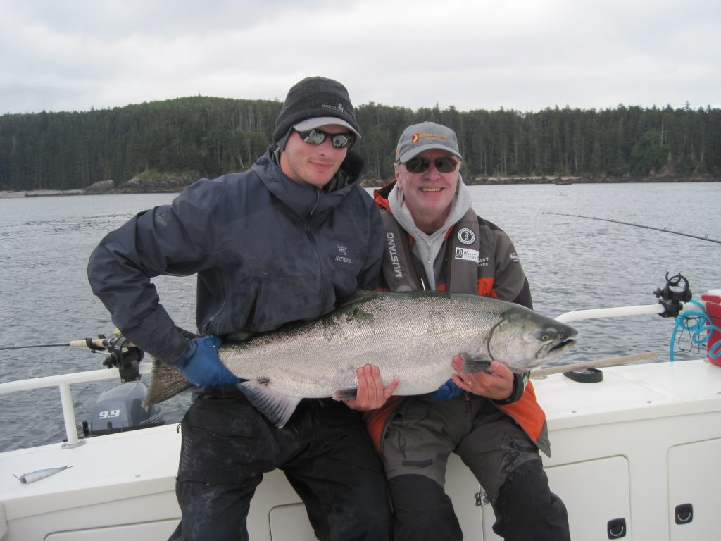<em>* Henry and Brent with a 37.5lb Tyee. </em>