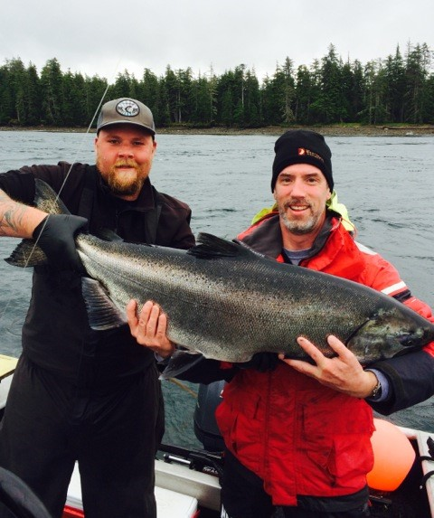 <em>* Dave Mchardy and guide Kyle Alton with a 42lb Tyee. </em>