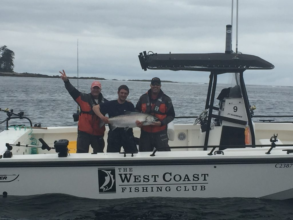 <em>* Dave Stockton Sr, guide Bryce, and Dave Stockton Jr. celebrating the 46lb Tyee! </em>