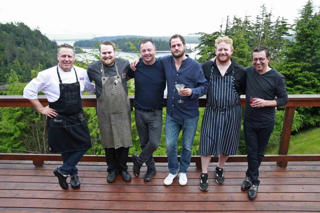 * Featured Chefs gathered on the back deck - Dino Renaerts, Shaun Snelling, David Hawksworth, Valentine Warner, Derek Dammann, and Normand Laprise.