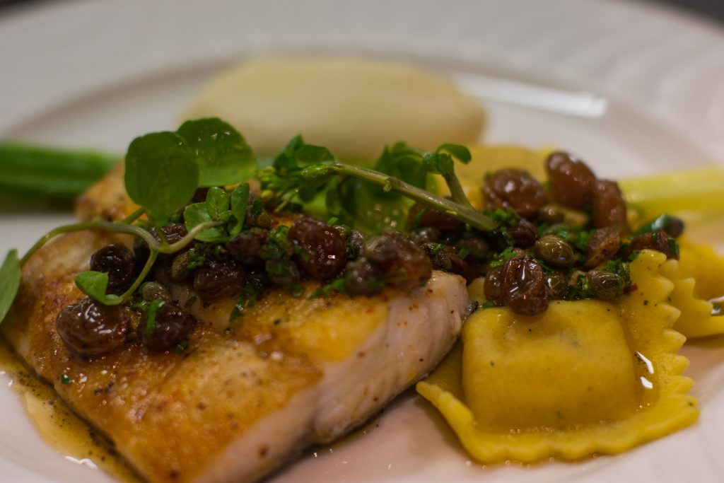 <em>* Chef Stephanie's seared Lingcod with butternut squash ravioli and brown butter - a crowd favorite. </em>
