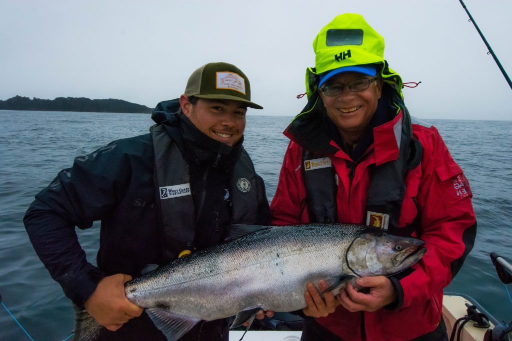 <em>* Jordan Knight and Bob Murrell with a nice Tyee. </em>