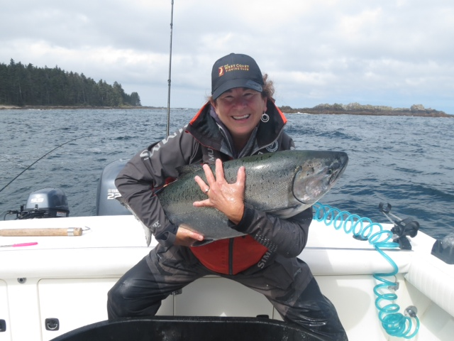 <em>* Kellie and her 32lb Tyee on the West Bank. </em>
