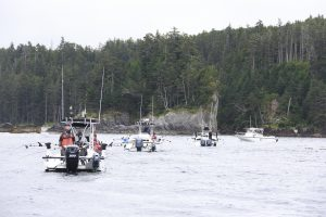 * Boats lined up at Fish Bowl with anxious anglers waiting for their chance at the big one.