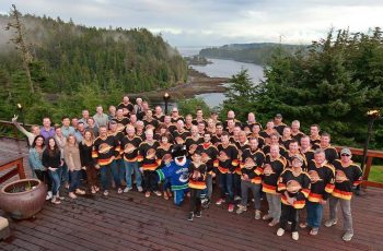 * 2016 Participants, sponsors and support staff gather on the back deck.