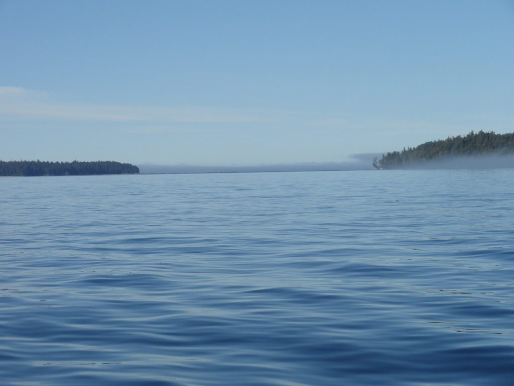 <em>* Mystical Haida Gwaii morning with barelu a ripple on the water. </em>
