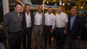 * Derek Dorsett, Kirk McLean, Manny Malhotra, Sven Baertschi, Jim Benning and Willie Desjardins at the reception gala.