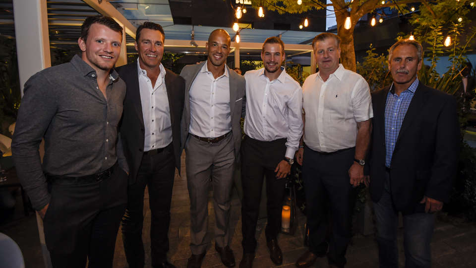 <em>* Derek Dorsett, Kirk McLean, Manny Malhotra, Sven Baertschi, Jim Benning and Willie Desjardins at the reception gala. </em>