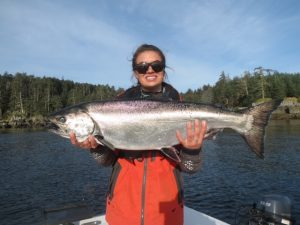 * Lindsay with a great barbecue Chinook, angled off Mac, dad's fav. Spot!