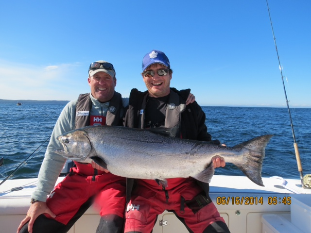 <em>* 36lb Tyee for Bob Faktor and Chris Kolozetti on a perfect June day in Boulder Bay. </em>