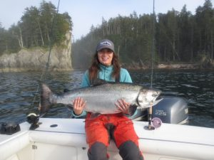 **Lindsay Garske with her monster Chinook, a Tyee of some 43 lbs.