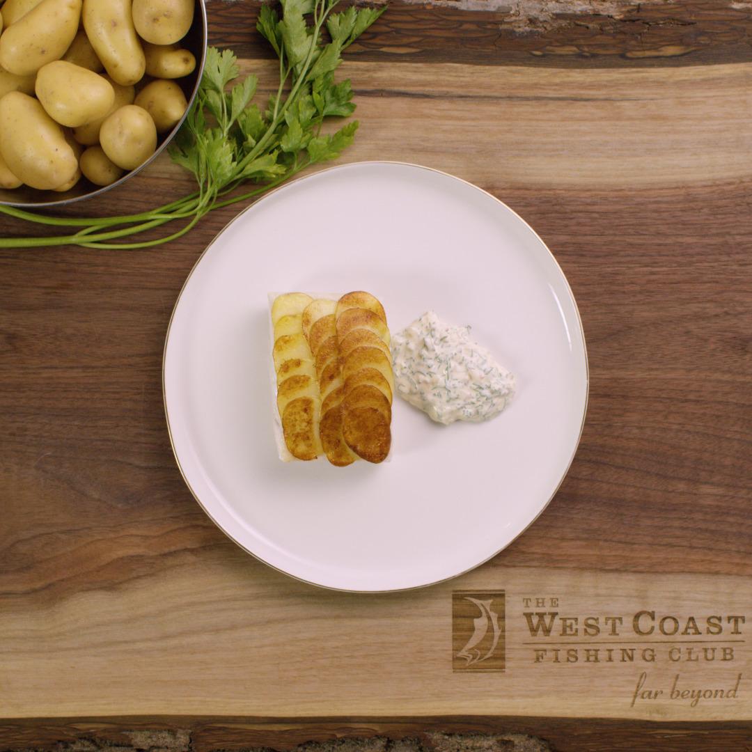 Potato Crusted Halibut with Tartar Sauce